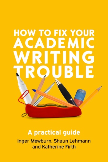 Yellow book cover with title and picture of a Swiss Army knife made of pens, pencils, erasers and paperclips.
