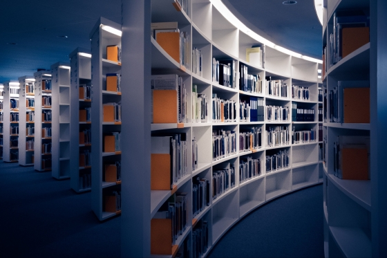 Curved white shelves with books on them